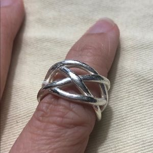 Silver Knot Woven Band Ring